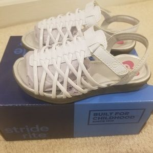 stride rite girls white sandals size 9 -new in box